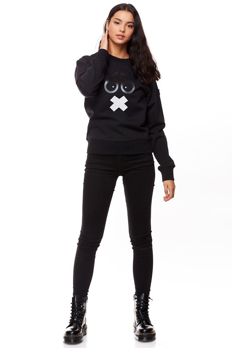 Moose Knuckles Ladies Moose X-Mark Sweatshirt in Black