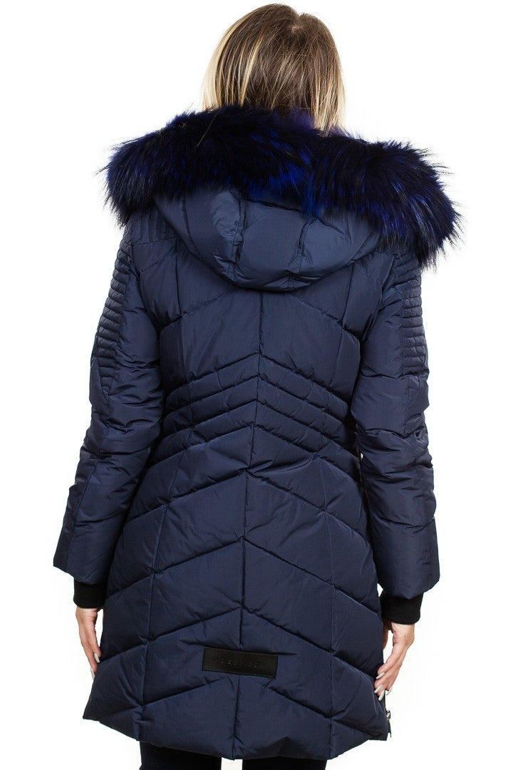 Nicole Benisti Solden Quilted Down Coat in Navy With Blue Fur