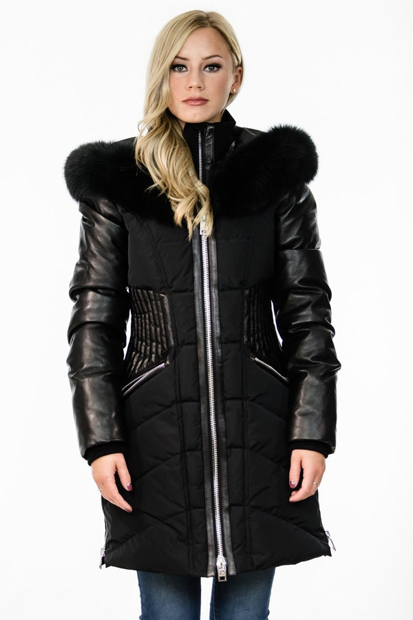 Nicole Benisti Courcheval Down Coat in Black With Black Fur