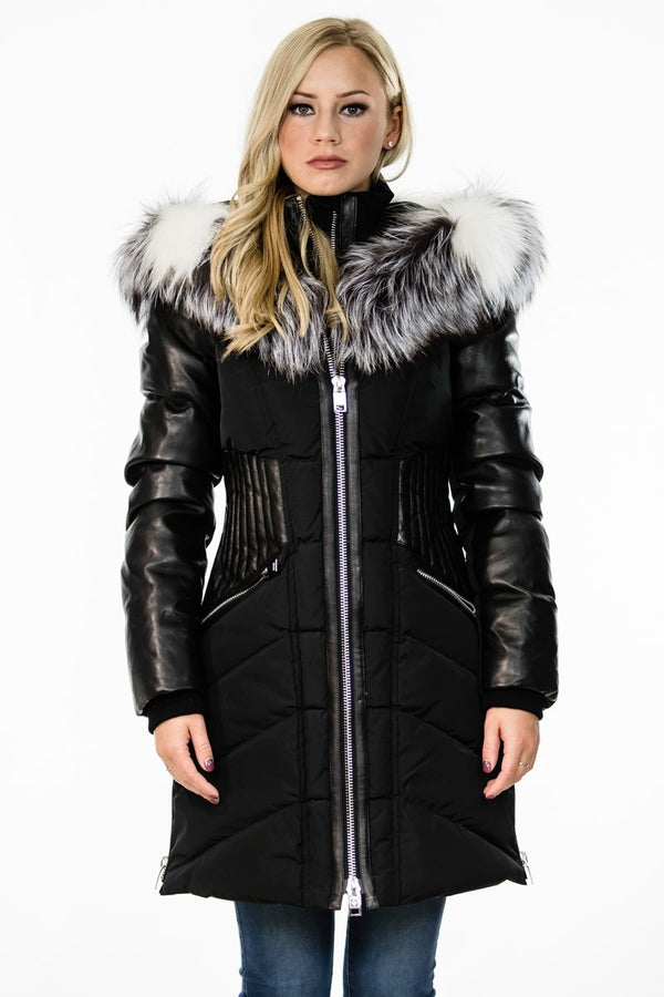 Nicole Benisti Courcheval Down Coat With Silver Cross Fox Fur