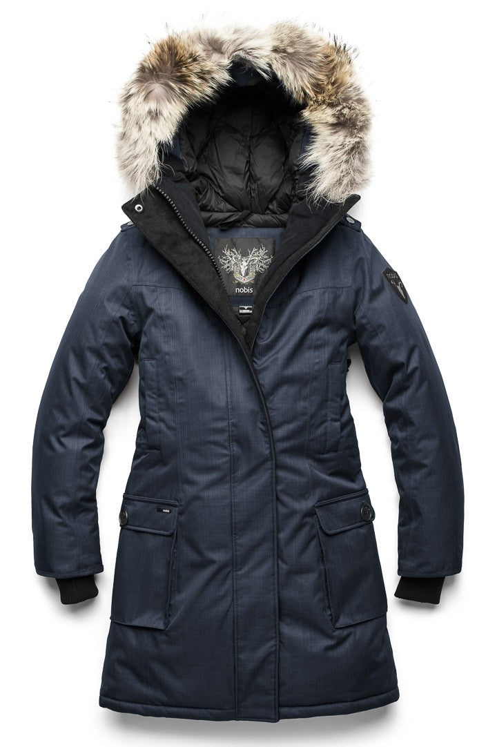 Nobis Abby Ladies Knee Length Parka in Navy