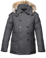 Nobis Kato Men&#39 s Magnetic Closure Peacoat in Heathered Charcoal Charcoal