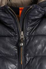 Parajumpers Demi Ladies Long Leather Puffer in Black