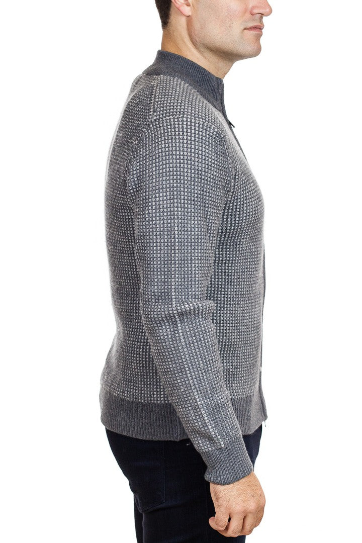 Patrick Assaraf Melange Texture Knit Zip in Graphite