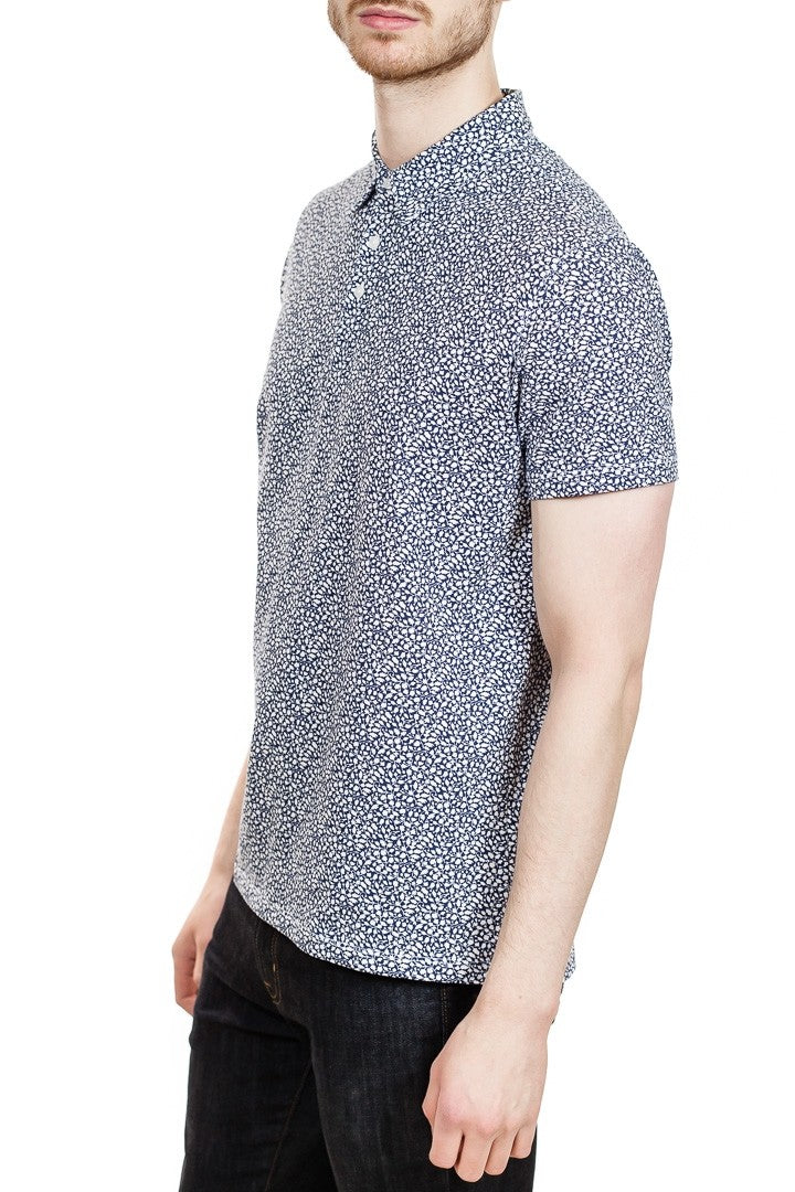 Patrick Assaraf Printed Stretch Polo in Ink Blue