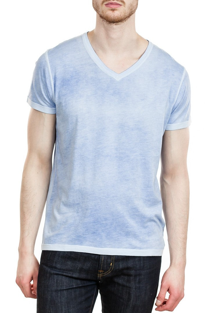 Patrick Assaraf Reverse Spray Pima V-Neck in Majestic Spray