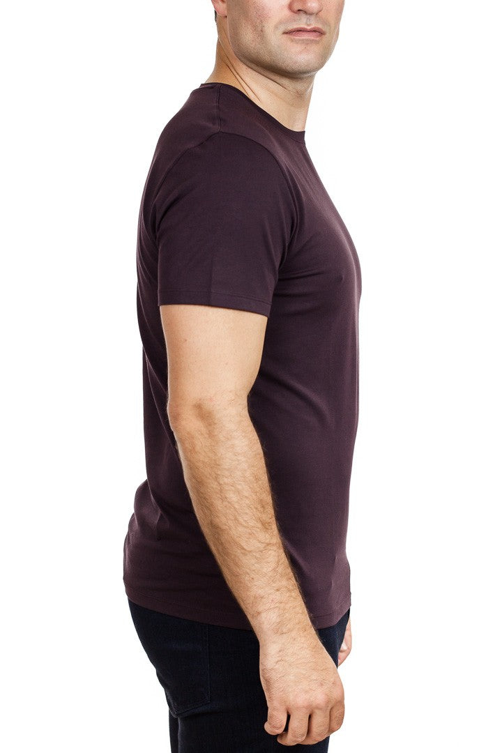 Patrick Assaraf Short Sleeve Stretch Pima Cotton Crew in Blackcurrant