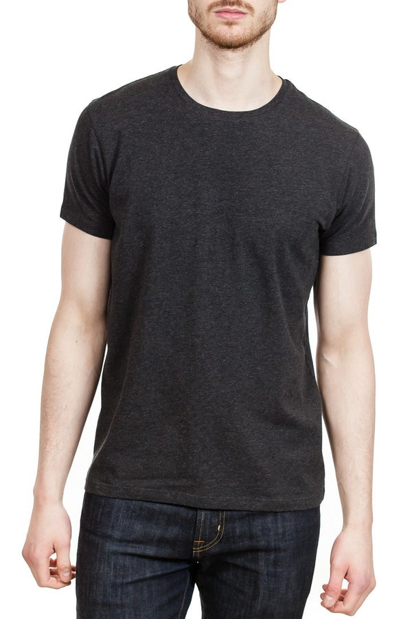 Patrick Assaraf Short Sleeve Stretch Pima Crew in Charcoal