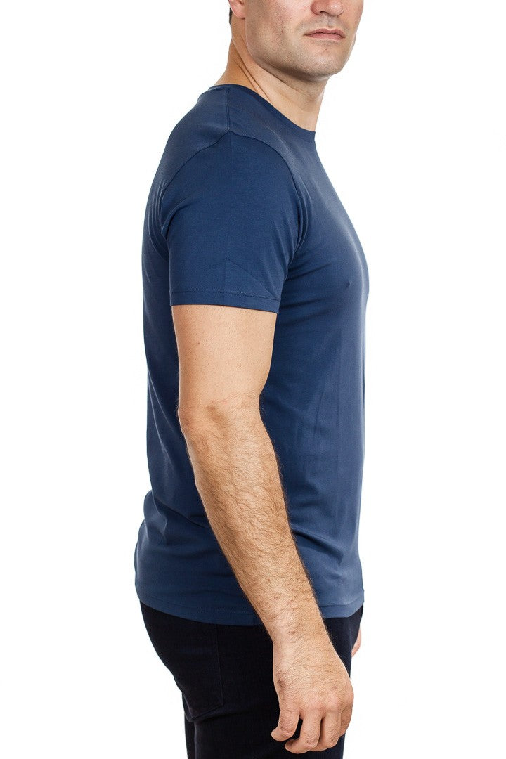 Patrick Assaraf Short Sleeve Stretch Pima Cotton Crew in Midnight