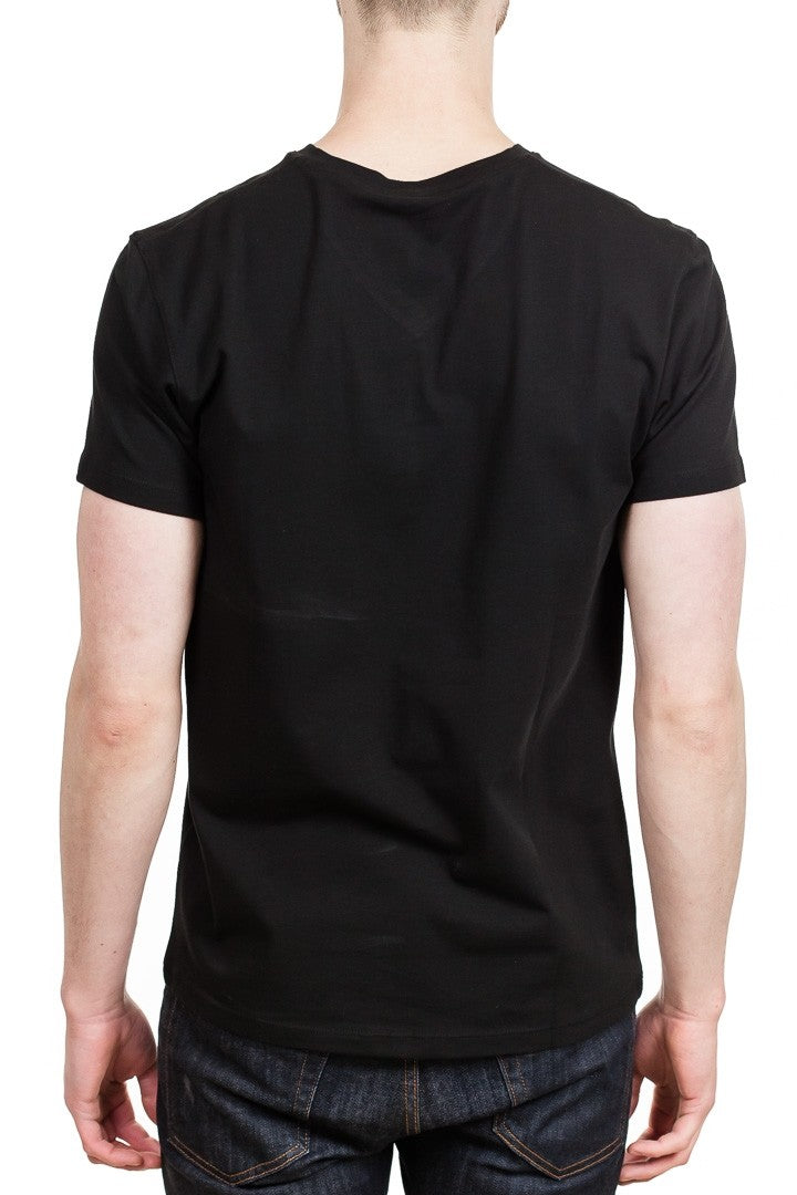Patrick Assaraf Short Sleeve Stretch Pima V-Neck in Black