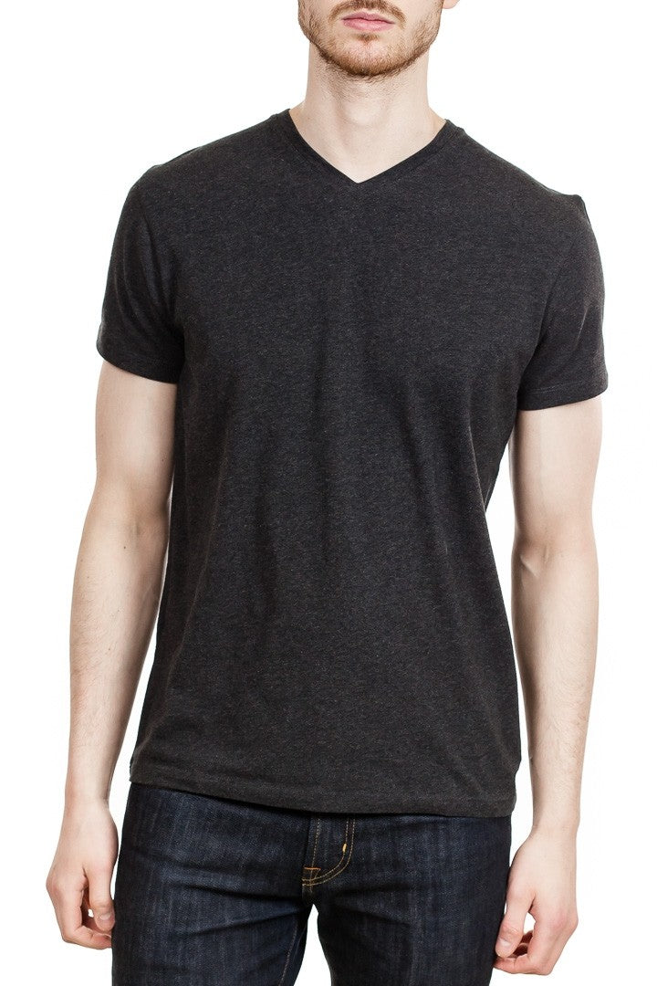 Patrick Assaraf Short Sleeve Stretch Pima V-Neck in Charcoal