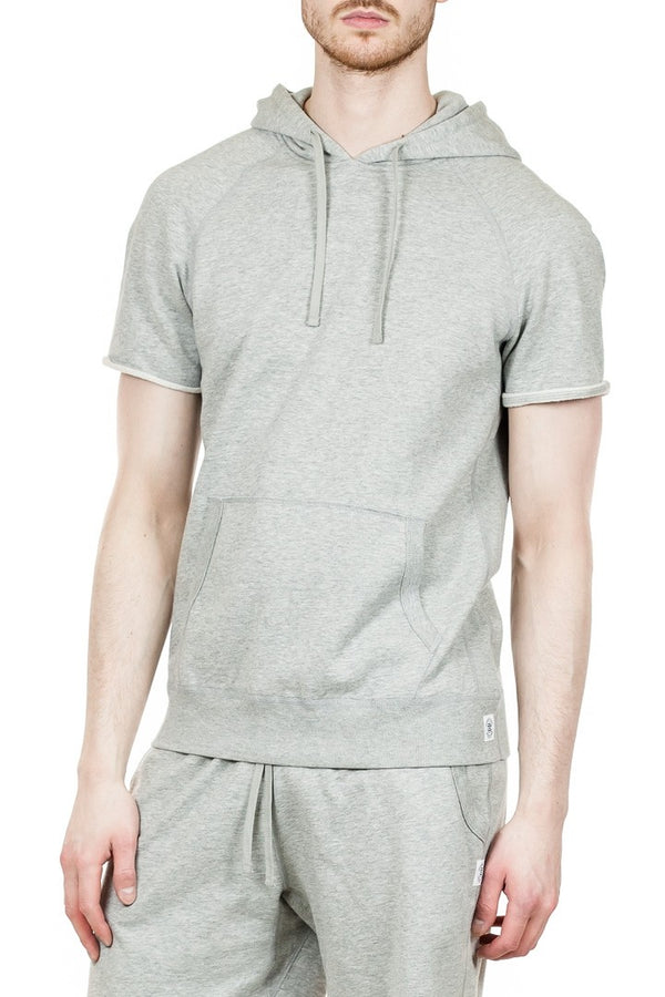Reigning Champ Cut-Off Pullover Hoodie in Heather Grey
