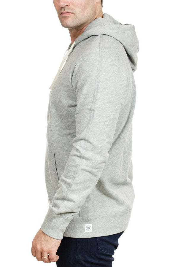 Reigning Champ Full Zip Hoodie in Heather Grey