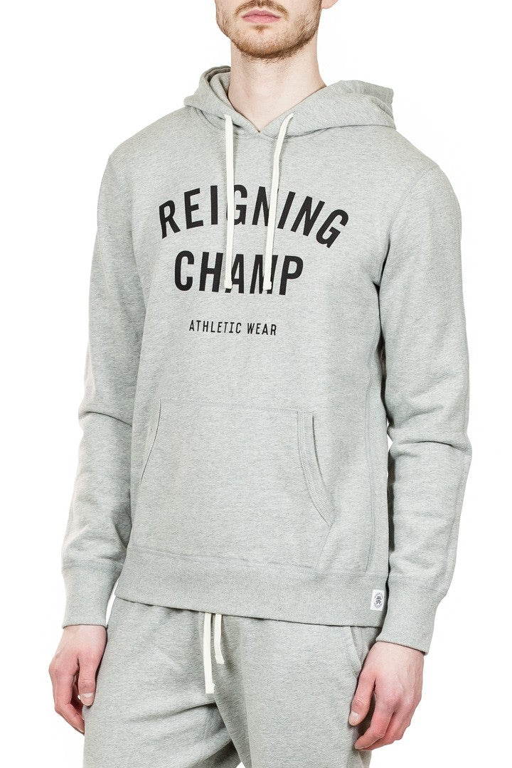 Reigning Champ Gym Logo Pullover Hoodie in Heather Grey