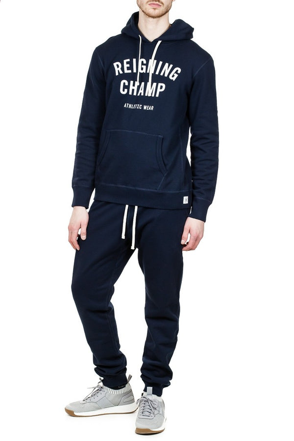 Reigning Champ Gym Logo Pullover Hoodie in Navy