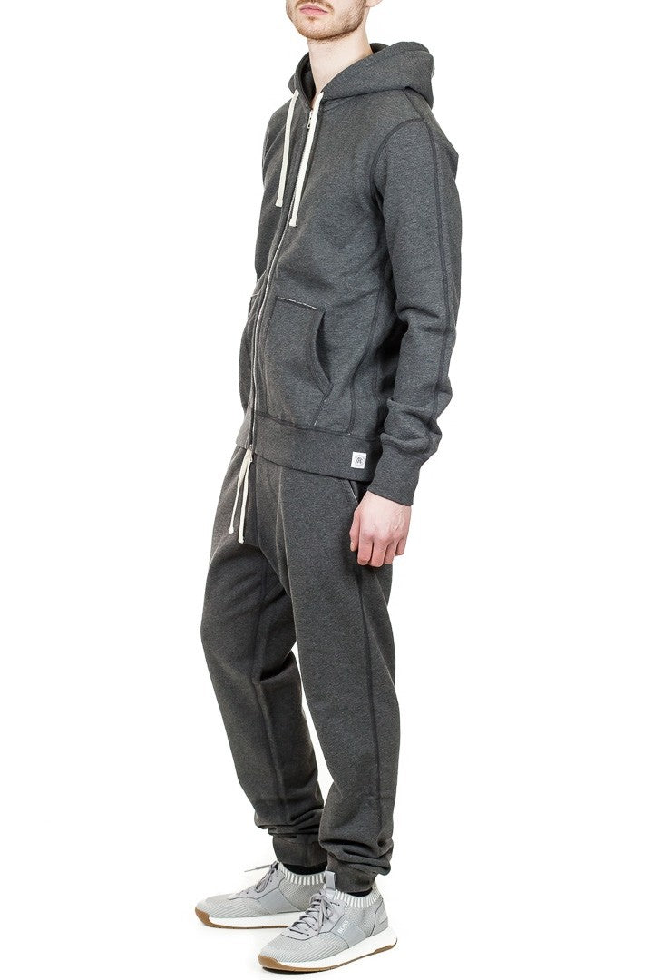 Reigning Champ Full Zip Hoodie in Heather Charcoal