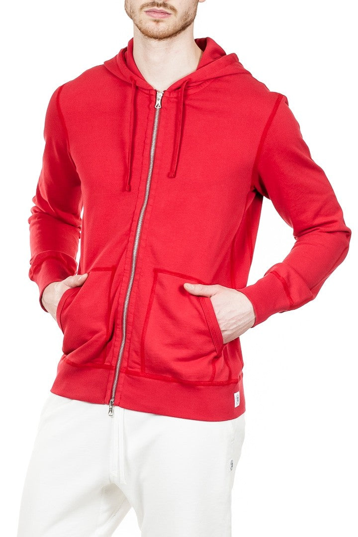 Reigning Champ Full Zip Hoodie in Red