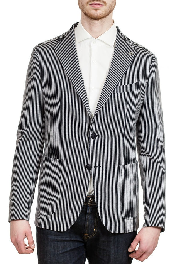 Tagliatore Two-Button Jersey Cotton Blazer in Grey