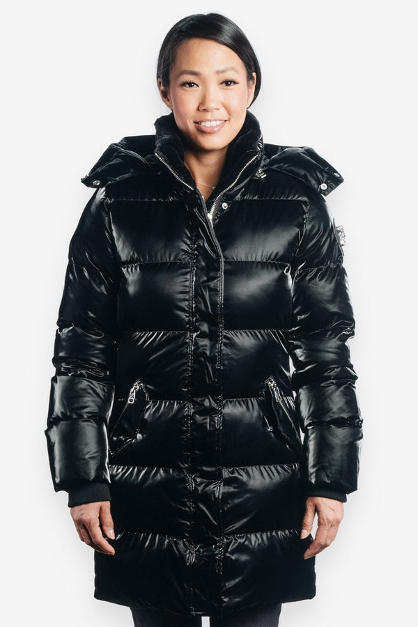 Woodpecker Women&#39 s Penguin Long Jacket in All Wet Black