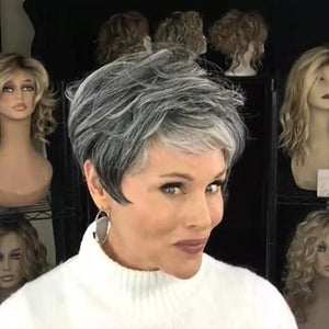 (45%OFF)2020 Silver Gray Short Roll Wig