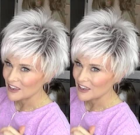 【45%OFF SALE】Popular white short wig(Hair root black)