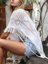 Load image into Gallery viewer, White V-neck Cut Out Detail Tassel Trim Dipped Blouse