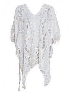 White V-neck Cut Out Detail Tassel Trim Dipped Blouse