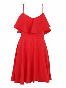 Red Cotton V-neck Ruffle Trim Open Back Chic Women Cami Mini Dress