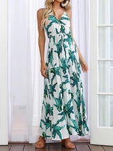 Load image into Gallery viewer, Green Cotton V-neck Plantain Leaf Print Chic Women Cami Maxi Dress