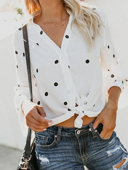 White V-neck Polka Dot Print Flare Sleeve Chic Women Shirt