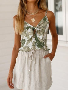 White V-neck Leaf Print Tie Front Ruffle Trim Cami Top