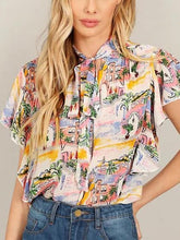Load image into Gallery viewer, Polychrome Print Detail Tie Front Ruffle Sleeve Blouse
