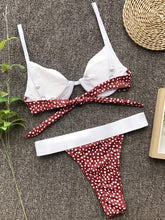 Load image into Gallery viewer, Red Bikini Set Contrast Polka Dot Print Tie Back