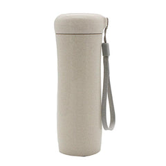 HWD07 - 400ML SAINT WHEAT STRAW BOTTLE WITH THIN CLOTH STRAP