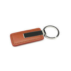 HWH45 - RECTANGULAR METAL AND LEATHER KEYCHAIN