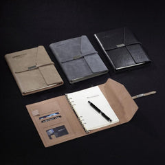 HWOS179 - LOOSE LEAF NOTEBOOK WITH THIN LEATHER STRAP AND FLAP CLOSURE WITH SLANTED EDGE