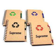 HWOS64 - NOTEBOOK WITH RECYCLING SYMBOL ON KRAFT PAPER COVER