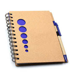 HWOS63 - NOTEBOOK SET WITH CIRCLE CUTOUTS ON KRAFT PAPER COVER