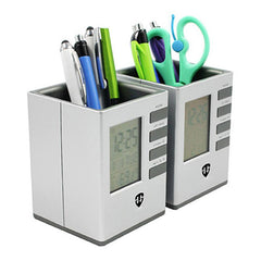 HWOS175 - SQUARE PEN HOLDER WITH ELECTRONIC CALENDAR