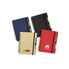 HWOS103 - SPIRAL-BOUND RECYCLE NOTEBOOK WITH PEN AND ELASTIC BAND