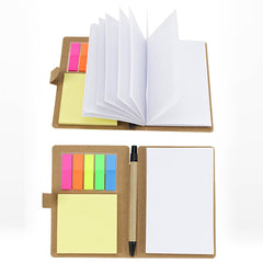 HWOS140 - ECO FRIENDLY NOTEPAD WITH PEN AND STICK IT NOTES