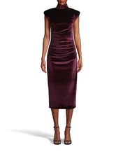 Load image into Gallery viewer, STRETCH VELVET MOCK NECK MIDI DRESS