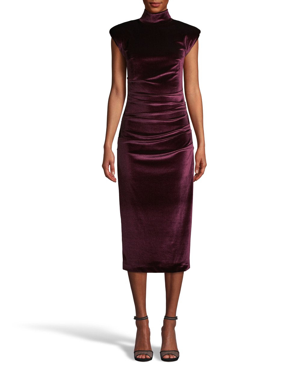 STRETCH VELVET MOCK NECK MIDI DRESS