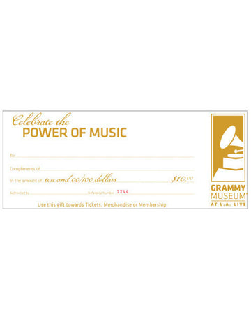 GRAMMY Museum $10 Gift Certificate