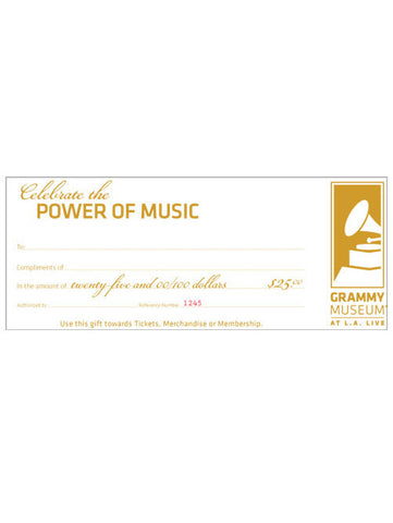 GRAMMY Museum $25 Gift Certificate