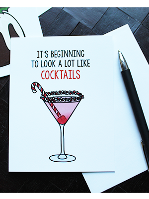 Cocktails Holiday Card