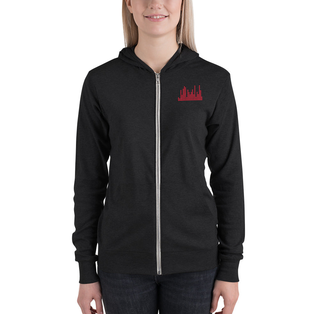 Lightweight Unisex Zip Hoodie - Heart Sound Meter