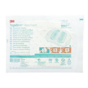3M Tegaderm Absorbent Clear Acrylic Dressing, Small Square - SpaSupply