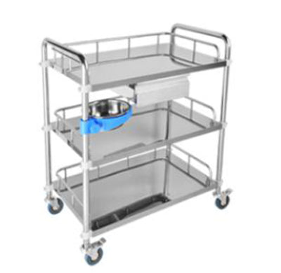 Stainless Trolley- Three shelves with one drawer