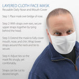 Core Products Layered Cloth Face Mask, White Tie Back ( 10 Pack) MADE IN USA